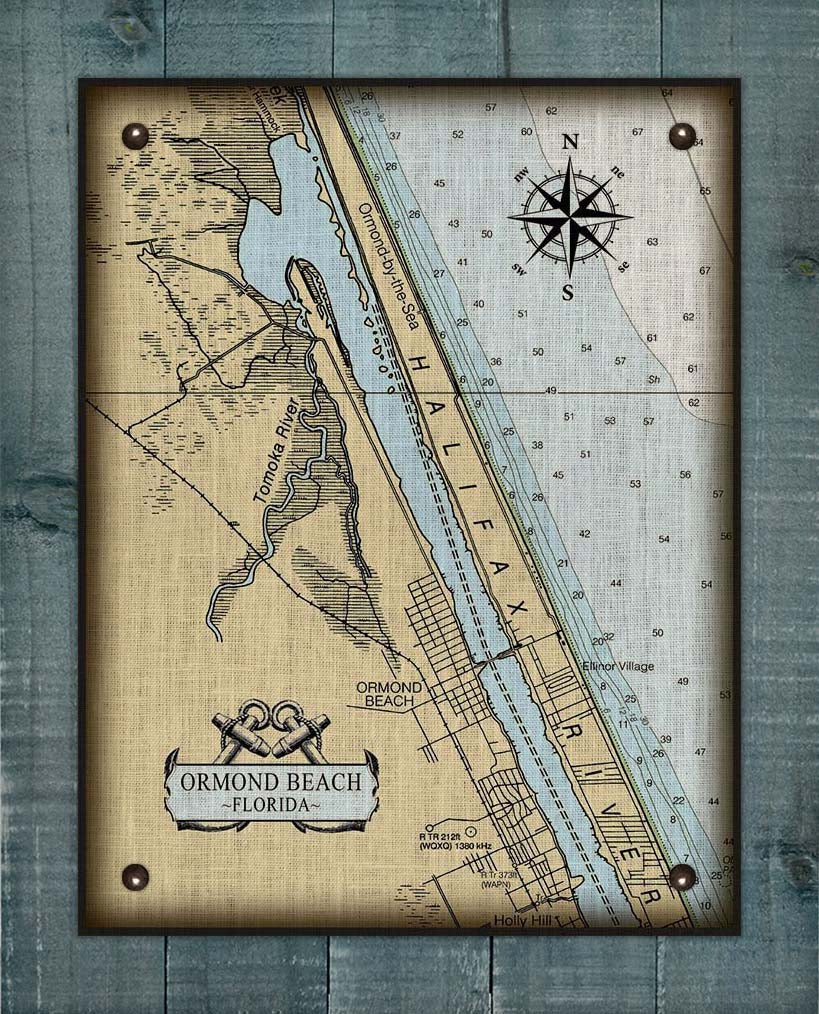 Ormond Beach Nautical Chart On 100% Linen