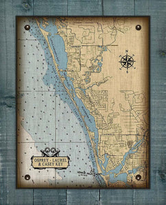 Osprey & Casey Key & Laurel Nautical Chart On 100% Linen