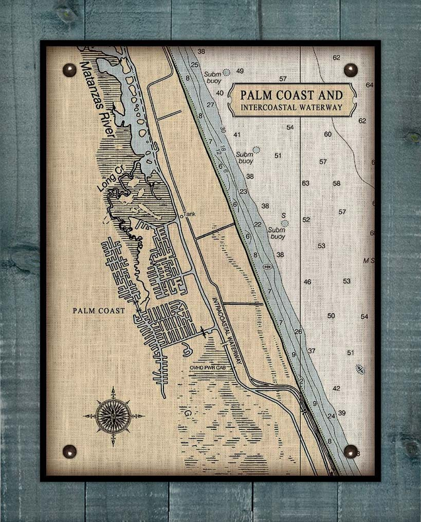Palm Coast Nautical Chart On 100% Linen