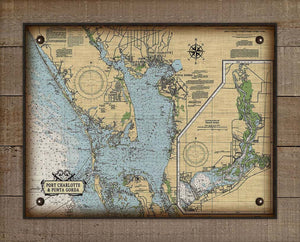 Port Charlotte And Punta Gorda Nautical Chart On 100% Natural Linen