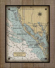 Load image into Gallery viewer, Florida Reddington Beach Nautical Chart On 100% Natural Linen
