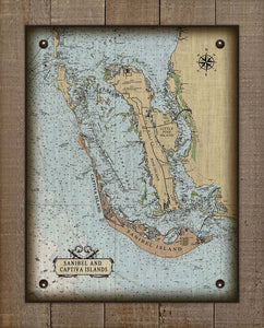 Sanibel, Captiva And Pine Island Nautical Chart On 100% Natural Linen