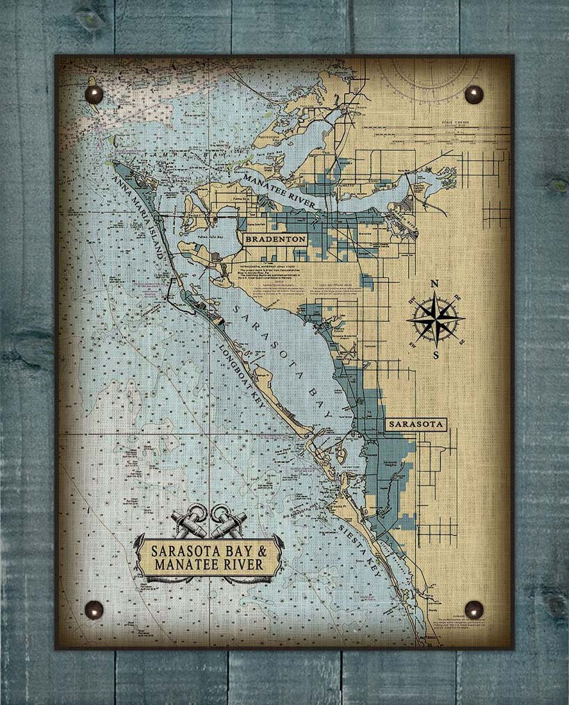 Sarasota Bay And Manatee River Nautical Chart On 100% Natural Linen