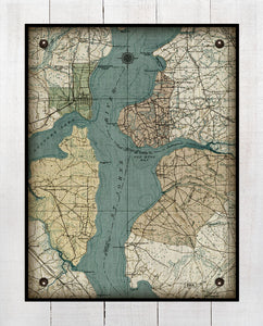 St Johns River - Orange Park, Mandarin, Fleming Island & Fruit Cove-Vintage Map On 100% Natural Linen
