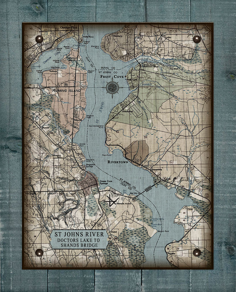 St Johns River Doctors Lake To Shands Bridge Vintage Map - On 100% Natural Linen