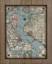 Load image into Gallery viewer, St Johns River Doctors Lake To Shands Bridge Vintage Map - On 100% Natural Linen