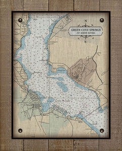 St Johns River - Green Cove Springs - Nautical Chart On 100% Natural Linen