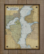 Load image into Gallery viewer, St Johns River - Orange Park, Mandarin, Fleming Island & Fruit Cove- Nautical Chart On 100% Natural Linen