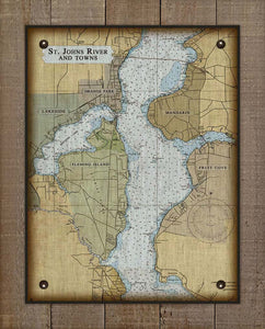St Johns River - Orange Park, Mandarin, Fleming Island & Fruit Cove- Nautical Chart On 100% Natural Linen