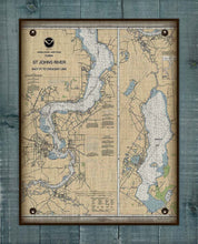 Load image into Gallery viewer, St Johns River - Palatka And Crescent Lake- Nautical Chart On 100% Natural Linen