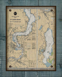 St Johns River - Palatka And Crescent Lake- Nautical Chart On 100% Natural Linen