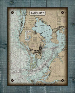 Tampa Bay - Nautical Chart On 100% Linen