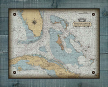 Load image into Gallery viewer, Straits Of Florida And Island Of The Bahamas Nautical Chart On 100% Natural Linen