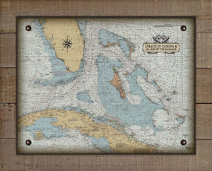 Straits Of Florida And Island Of The Bahamas Nautical Chart On 100% Natural Linen