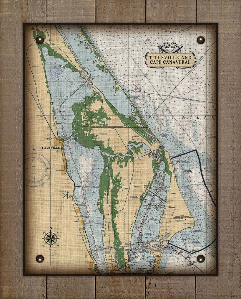Cape Canaveral And Titusville Nautical Chart On 100% Natural Linen
