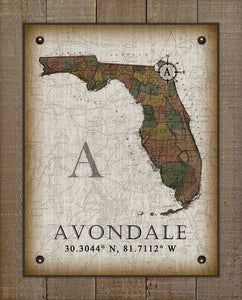 Avondale Florida Vintage Design - On 100% Natural Linen