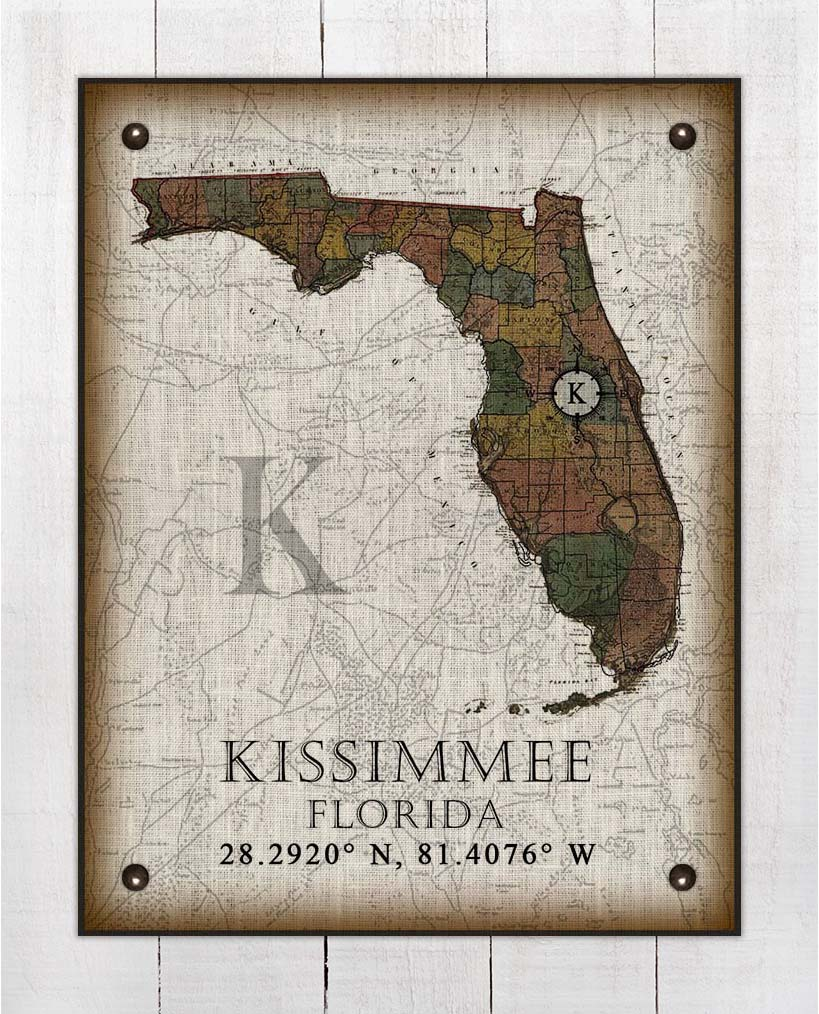 Kissimmee Florida Vintage Design On 100% Natural Linen