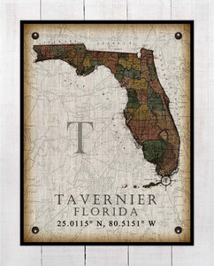 Tavernier Florida Vintage Design On 100% Natural Linen