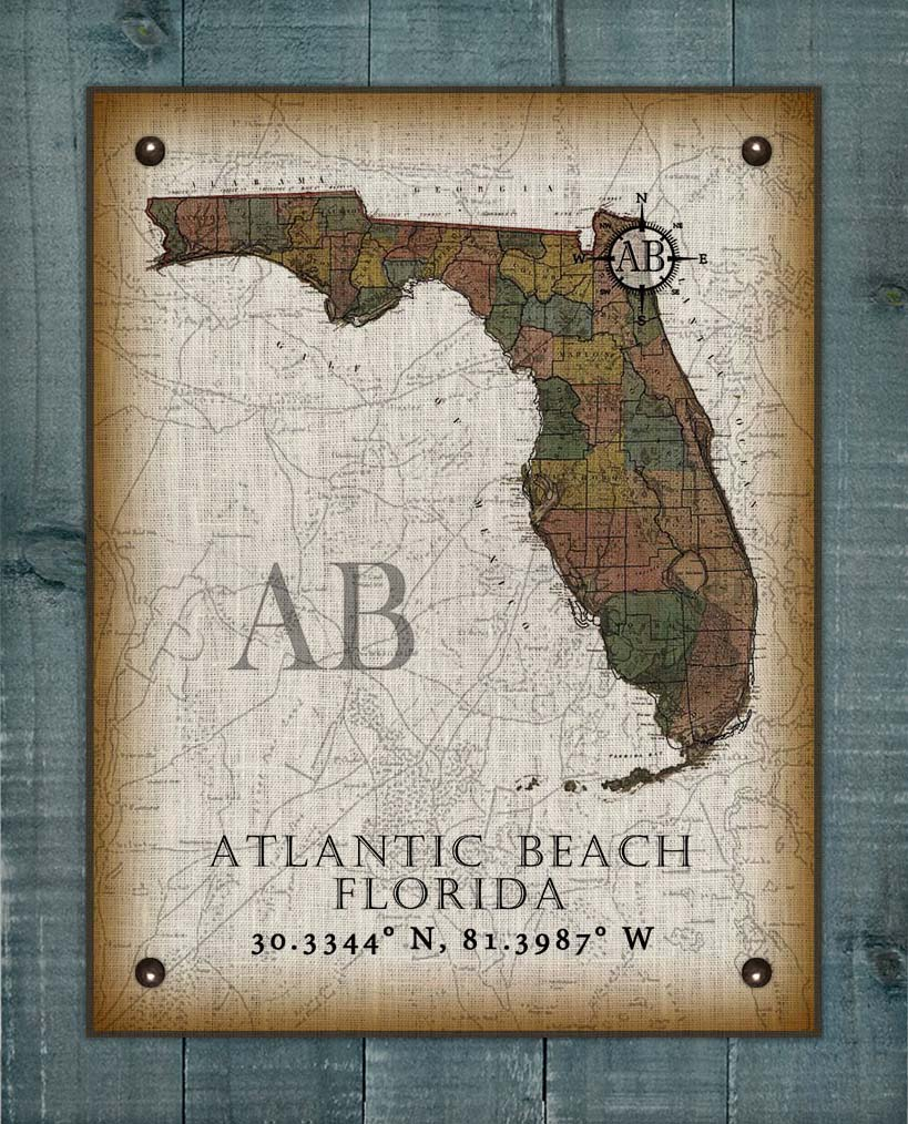 Atlantic Beach Florida Vintage Design On 100% Natural Linen