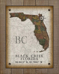 Black Creek Florida Vintage Design On 100% Natural Linen