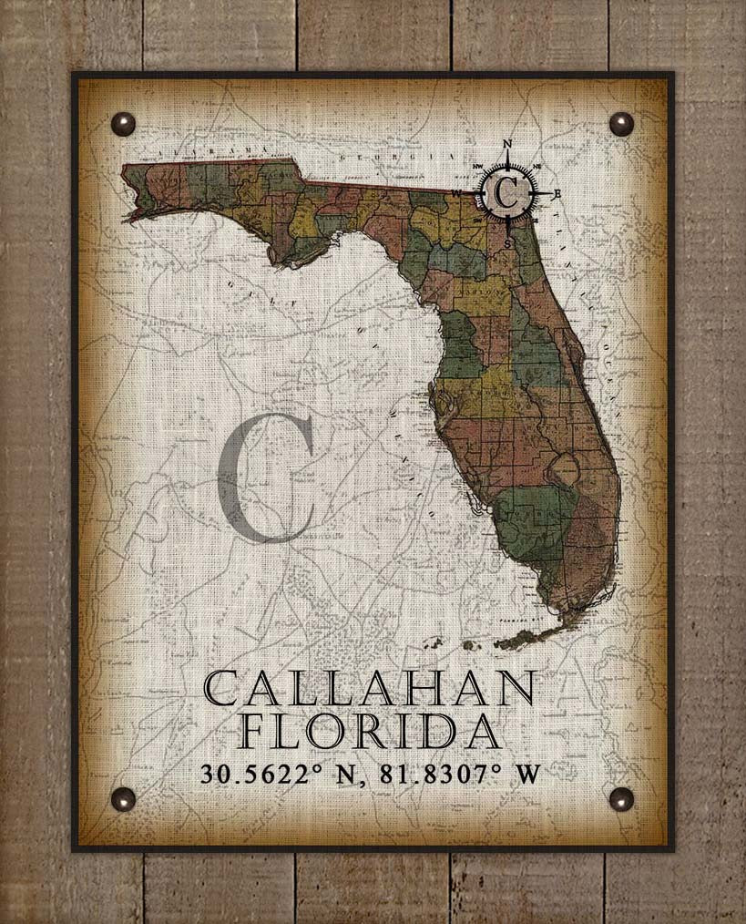 Callahan Florida Vintage Design On 100% Natural Linen