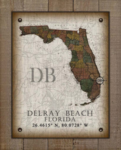 Delray Beach Florida Vintage Design On 100% Natural Linen