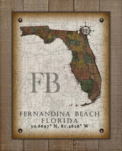 Load image into Gallery viewer, Fernandina Beach Florida Vintage Design On 100% Natural Linen