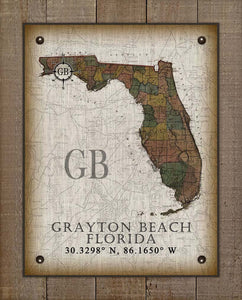 Grayton Beach Florida Vintage Design On 100% Natural Linen