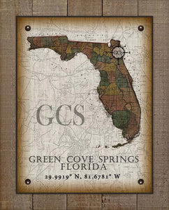 Green Cove Springs Florida Vintage Design On 100% Natural Linen