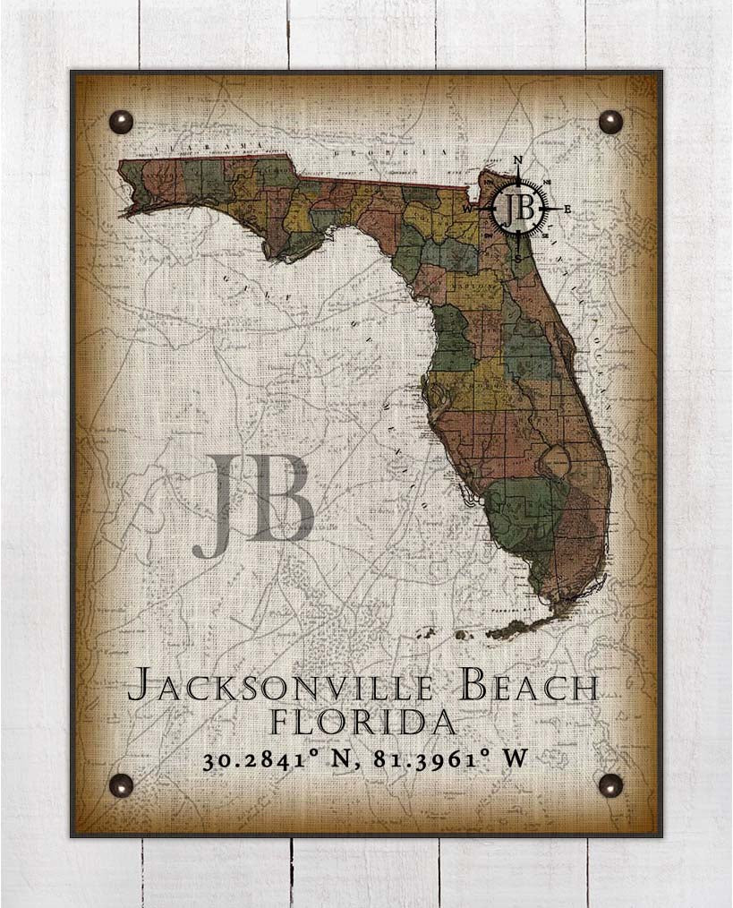 Jacksonville Beach Florida Vintage Design On 100% Natural Linen