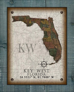 Key West Florida Vintage Design On 100% Natural Linen