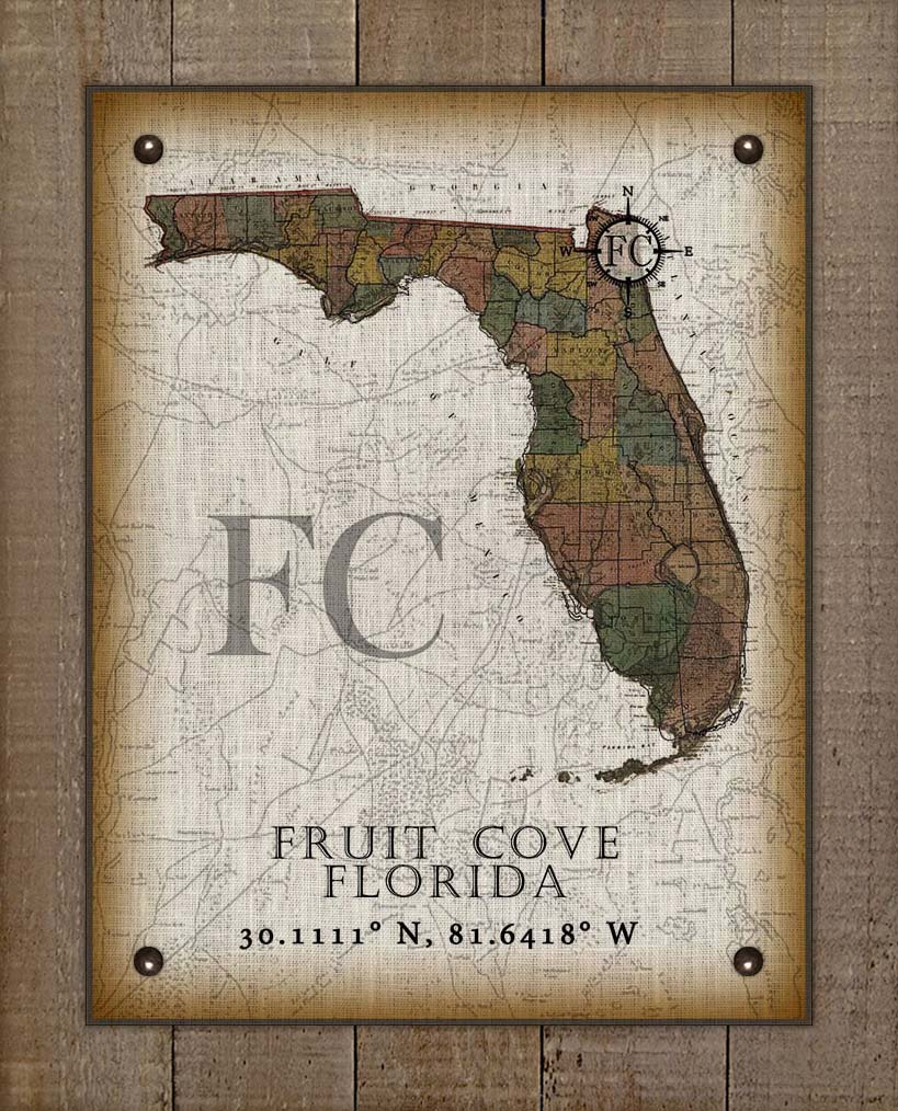 Fruit Cove Florida Vintage Design On 100% Natural Linen