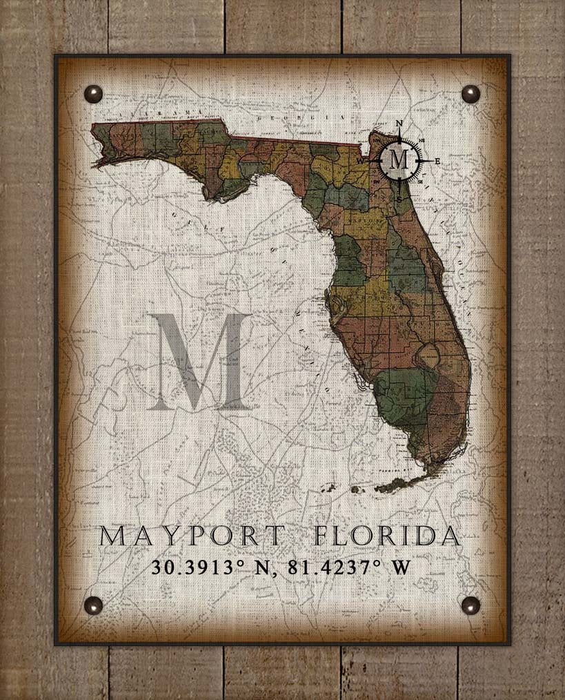 Mayport Florida Vintage Design On 100% Natural Linen