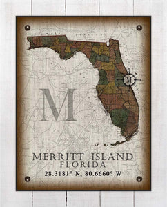 Merritt Island Florida Vintage Design On 100% Natural Linen