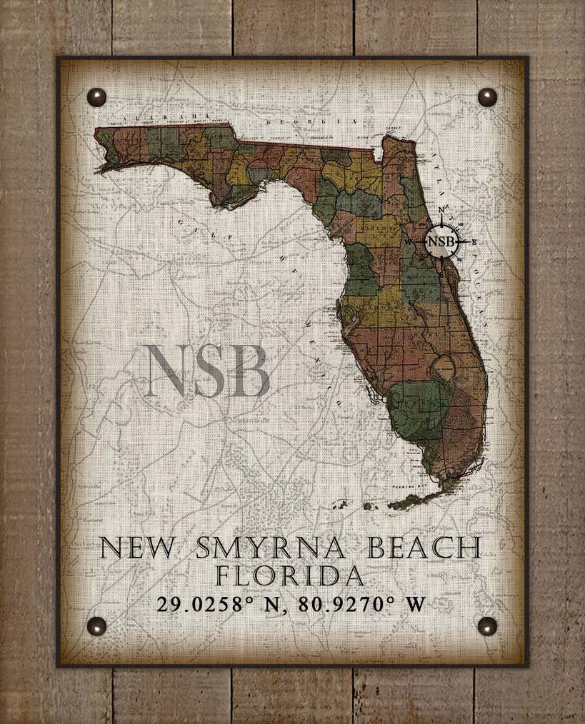New Smyrna Beach Florida Vintage Design On 100% Natural Linen
