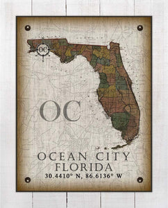 Ocean City Florida Vintage Design On 100% Natural Linen