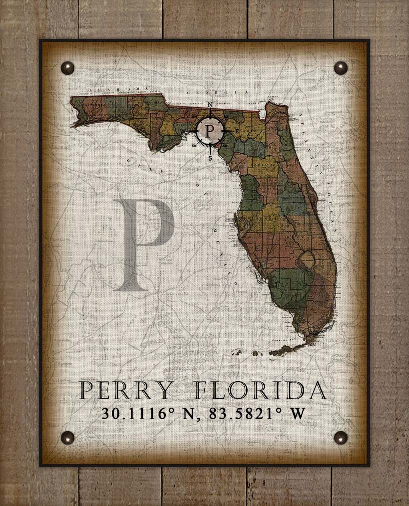 Perry Florida Vintage Design On 100% Natural Linen