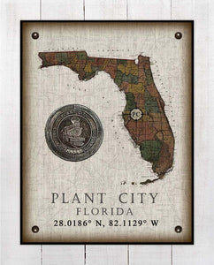 Plant City (2) Florida Vintage Design On 100% Natural Linen