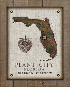 Plant City (3) Florida Vintage Design On 100% Natural Linen