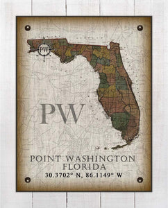 Point Washington Florida Vintage Design On 100% Natural Linen