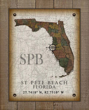 Load image into Gallery viewer, St Pete Beach Florida Vintage Design On 100% Natural Linen