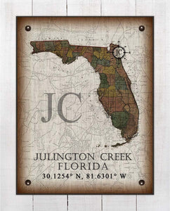 Julington Creek Florida Vintage Design On 100% Natural Linen