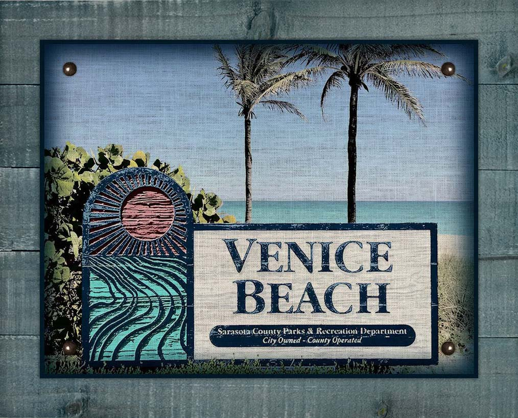 Venice Beach Welcome Sign On 100% Linen