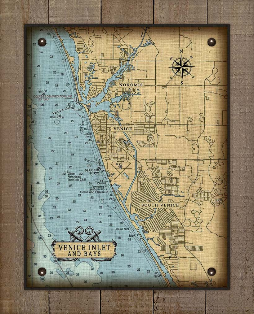 Venice Florida Nautical Chart On 100% Natural Linen