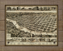 Load image into Gallery viewer, 1888 Columbus Georgia Birds Eye Map - On 100% Natural Linen