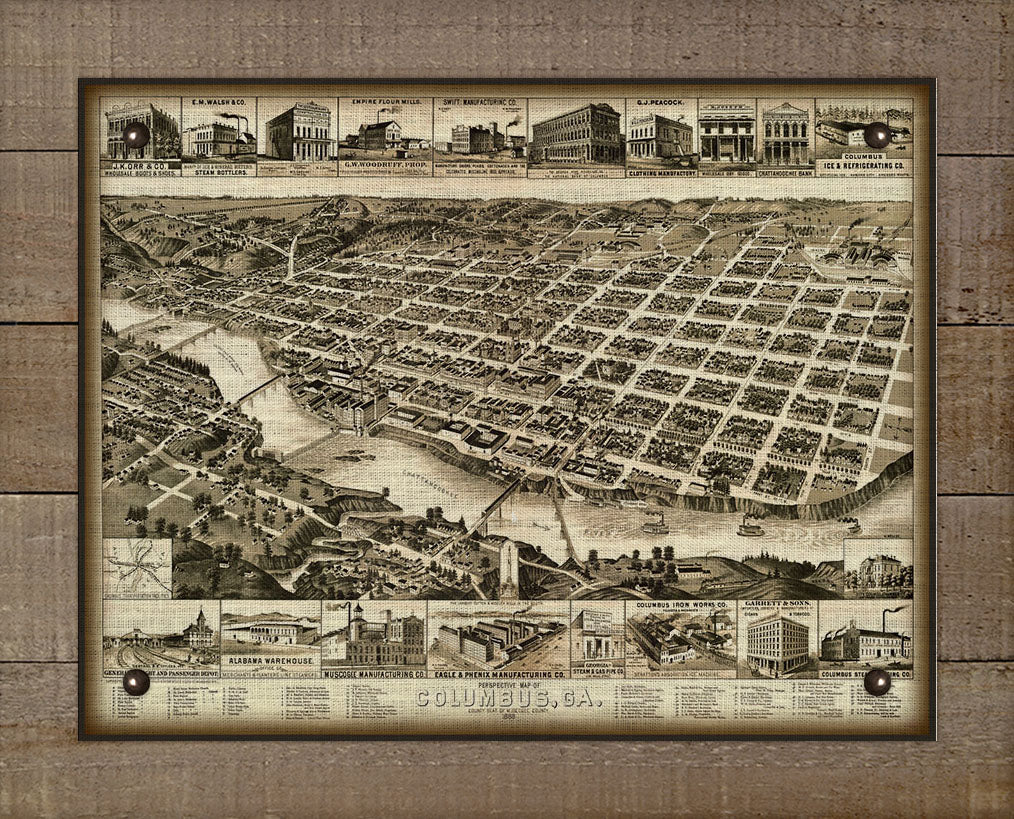 1888 Columbus Georgia Birds Eye Map - On 100% Natural Linen