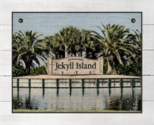 Load image into Gallery viewer, Jekyll Island Welcome Sign - On 100% Natural Linen