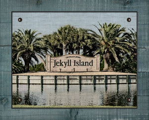 Jekyll Island Welcome Sign - On 100% Natural Linen