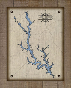 Lake Oconee Georgia - On 100% Natural Linen