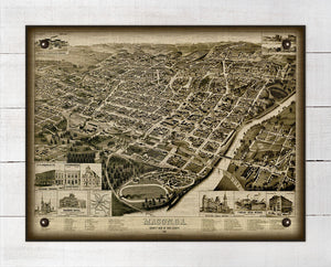 1887 Macon Georgia Birds Eye Map - On 100% Natural Linen